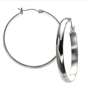 """Classics"" Silver-Tone Large Hoop Earrings"